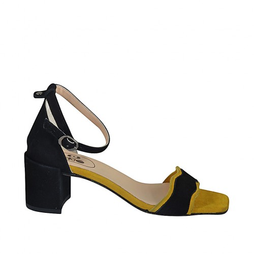 Woman's open shoe with anklestrap in black and yellow suede heel 6 - Available sizes:  32, 33, 34, 42, 43, 44, 45, 46