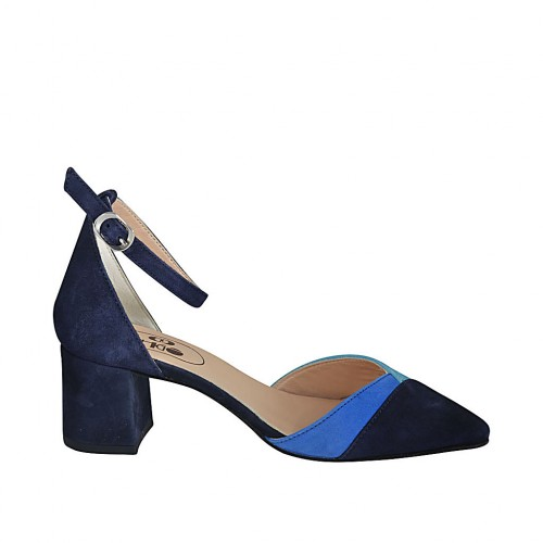 Woman's open shoe with strap in blue, cornflower blue and turquoise suede heel 5 - Available sizes:  32, 33, 34, 42, 43, 44, 45, 46