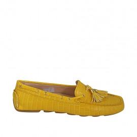 Mocassin avec semelle amovible et glands pour femmes en cuir imprimé jaune - Pointures disponibles:  33, 34, 42, 43, 44, 46