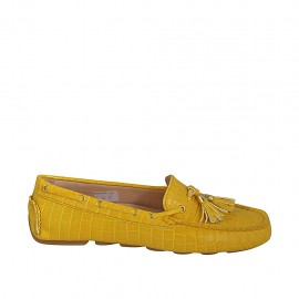 Woman's loafer with removable insole and tassels in yellow printed leather - Available sizes:  33, 34, 42, 43, 44, 46
