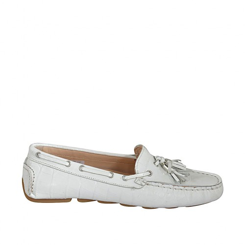 Woman's loafer with removable insole and tassels in white printed leather - Available sizes:  33, 34, 42, 43, 44, 46