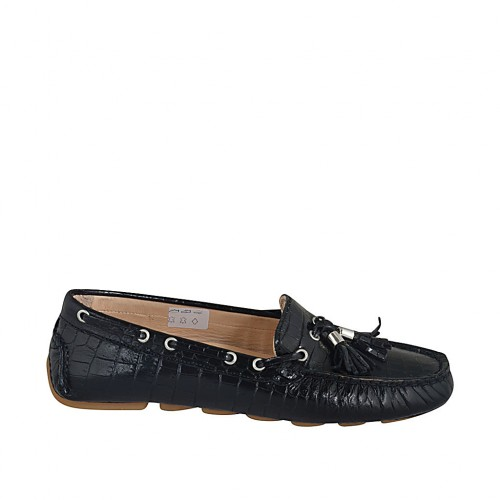 Woman's loafer with removable insole and tassels in black printed leather - Available sizes:  33, 42, 43, 44, 45, 46