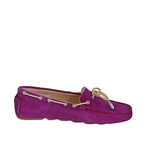 Woman's laced car shoe with removable insole in purple suede  - Available sizes:  33, 34, 42, 43, 45, 46