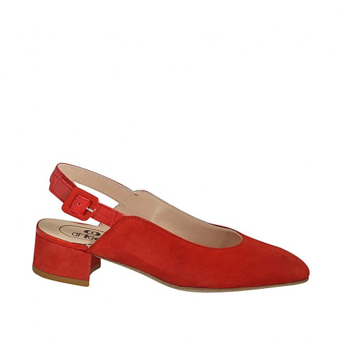 Woman's slingback pump in red suede and printed leather heel 4 - Available sizes:  32, 33, 34, 42, 43, 44, 46