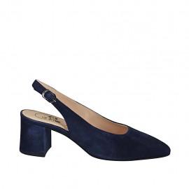 Zapato destalonado para mujer en gamuza azul tacon 5 - Tallas disponibles:  32, 33, 34, 42, 43, 45, 46