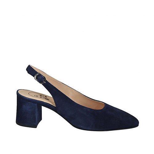 Woman's slingback pump in blue suede heel 5 - Available sizes:  32, 33, 34, 42, 43, 45, 46