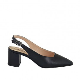 Woman's slingback pump in black leather heel 5 - Available sizes:  32, 33, 34, 42, 43, 44, 45, 46