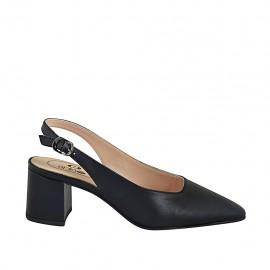 Zapato destalonado para mujer en piel negra tacon 5 - Tallas disponibles:  32, 33, 34, 42, 43, 44, 45, 46
