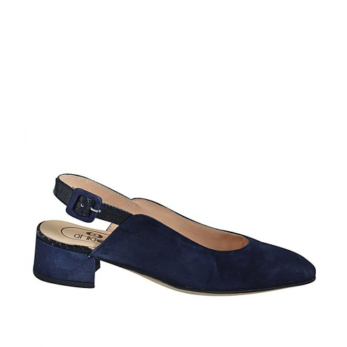 Woman's slingback pump in blue suede and printed leather heel 4 - Available sizes:  32, 33, 43, 45