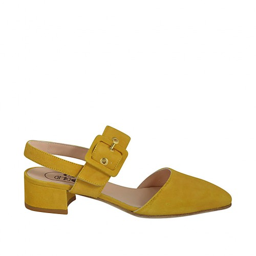 Woman's slingback pump with buckle in yellow suede heel 4 - Available sizes:  32, 34, 42, 43, 44, 45, 46