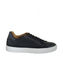 Man's laced shoe with removable insole in black leather and braided leather - Available sizes:  36, 37, 46, 47, 48