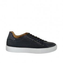 Zapato para hombre con cordones y plantilla extraible en piel y piel trensada negra - Tallas disponibles:  36, 37, 46, 47, 48