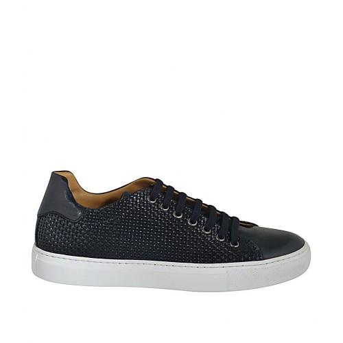 Zapato para hombre con cordones y plantilla extraible en piel y piel trensada negra - Tallas disponibles:  36, 37, 47