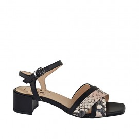 Woman's strap sandal in black leather and rose printed leather heel 4 - Available sizes:  32, 33, 34, 42, 43, 44, 45, 46