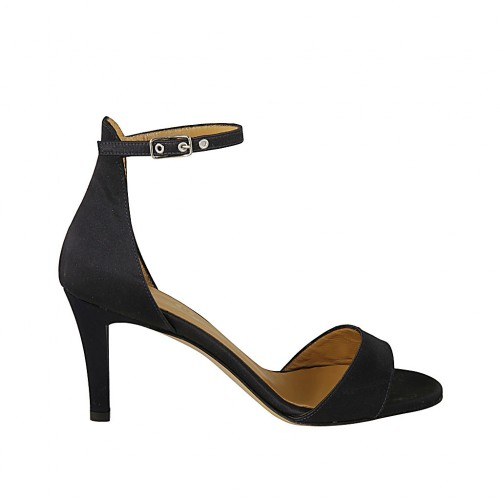 Woman's open shoe with strap in blue satin heel 7 - Available sizes:  32, 43, 44, 45, 46