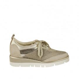 Zapato con cordones para mujer en tejido perforado, gamuza y piel laminada imprimida plateada cuña 3 - Tallas disponibles:  33, 42, 43, 45
