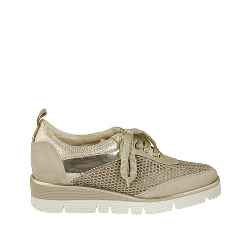 Woman's laced shoe in platinum laminated printed leather, suede and and pierced fabric wedge heel 3 - Available sizes:  32, 33, 34, 42, 43, 45