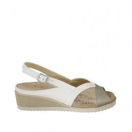 Woman's sandal with removable insole in white, platinum leather and copper laminated printed leather wedge heel 4