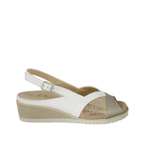 Woman's sandal with removable insole in white, platinum leather and copper laminated printed leather wedge heel 4 - Available sizes:  31, 32, 33, 34, 42, 43, 44, 45