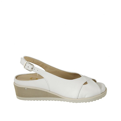 Woman's sandal with removable insole in white leather wedge heel 4 - Available sizes:  31, 32, 33, 34, 42, 43, 44, 45
