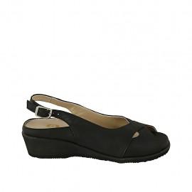Sandalia para mujer con plantilla extraible en piel negra cuña 4 - Tallas disponibles:  31, 33, 34, 44