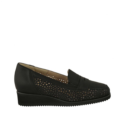 Woman's loafer with removable insole in black pierced leather wedge heel 3 - Available sizes:  31, 32, 33, 34, 42, 43, 44, 45
