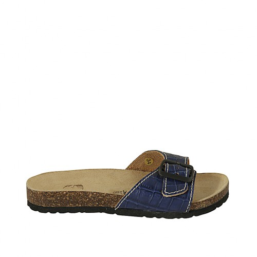 Woman's mules in blue printed leather with buckle wedge heel 2 - Available sizes:  34, 42, 43, 44, 45