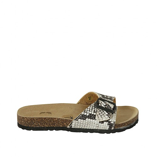 Woman's mules in printed leather with buckle wedge heel 2 - Available sizes:  32, 33, 34, 42, 43, 44