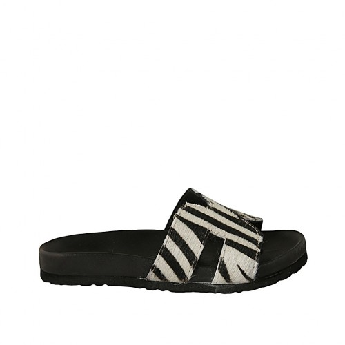 Woman's mules in black and white leather wedge heel 2 - Available sizes:  33, 34, 42, 43, 44