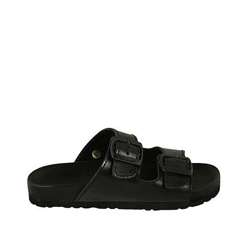 Woman's open mules with buckles in black leather wedge heel 2 - Available sizes:  32, 33, 34, 42, 43, 44, 45