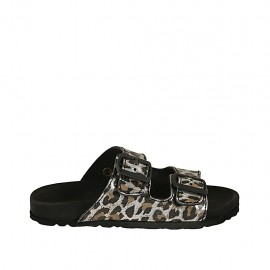 Woman's open mules with buckles in spotted laminated leather wedge heel 2 - Available sizes:  32, 33, 34, 42, 43, 44, 45