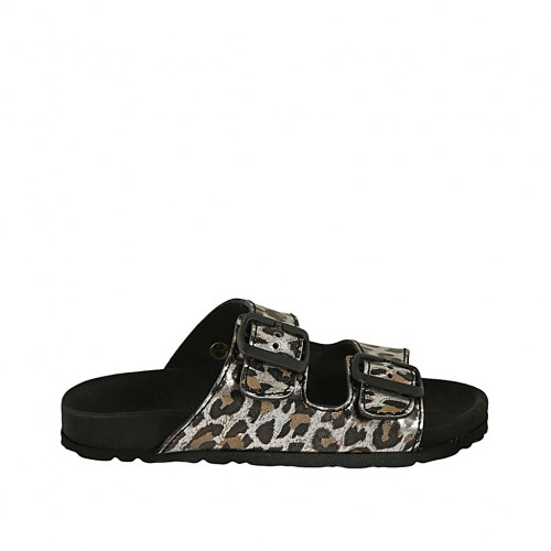 Woman's open mules with buckles in spotted laminated leather wedge heel 2 - Available sizes:  32, 33, 34, 43