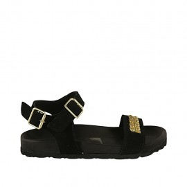 Woman's sandal in black suede with strap, buckle, accessory and wedge heel 2