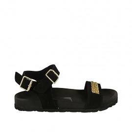 Sandalia para mujer en gamuza negra con cinturon, hebilla, acessorio y cuña 2 - Tallas disponibles:  32, 33, 34, 42, 43, 45