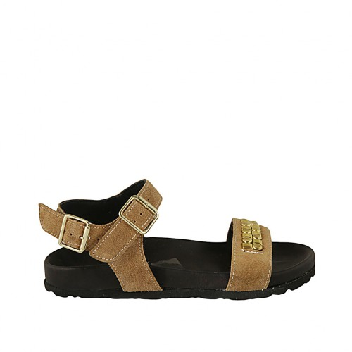 Woman's sandal in beige suede with strap, buckle, accessory and wedge heel 2 - Available sizes:  33, 34, 42, 43