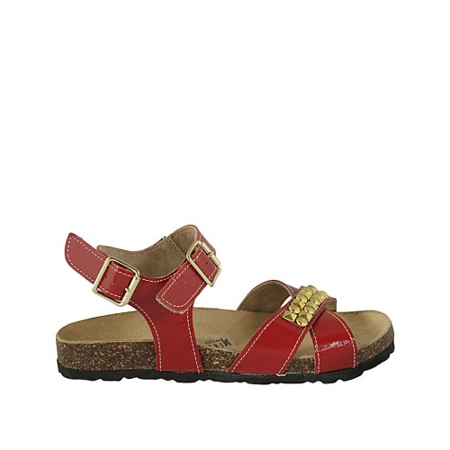 Woman's sandal in red patent leather with strap, buckle, accessory and wedge heel 2 - Available sizes:  32, 33, 34, 42, 43, 44