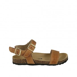 Woman's strap sandal with buckle in tan brown leather wedge heel 2