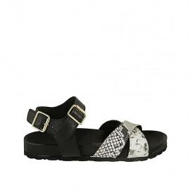 Sandale pour femmes avec courroie et boucle en cuir noir et cuir imprimé talon compensé 2 - Pointures disponibles:  32, 33, 34, 42, 43, 44, 45