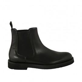 Bottines pour hommes en cuir noir avec élastiques  - Pointures disponibles:  36, 37, 38, 46, 47, 48, 49, 50