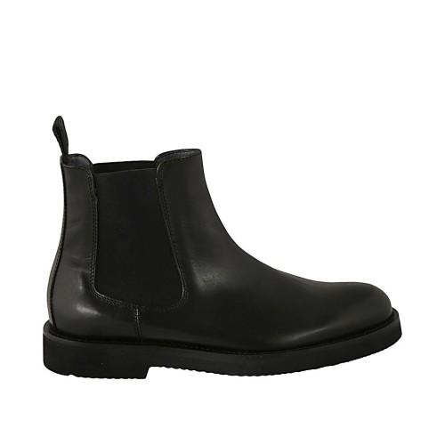 Men's ankle boot in black leather with elastic bands - Available sizes:  36, 37, 38, 46, 47, 48, 49