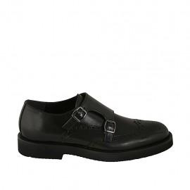Zapato para hombre con hebillas y decoraciones Brogue en piel negra - Tallas disponibles:  36, 37, 38, 46, 47, 48, 49, 50