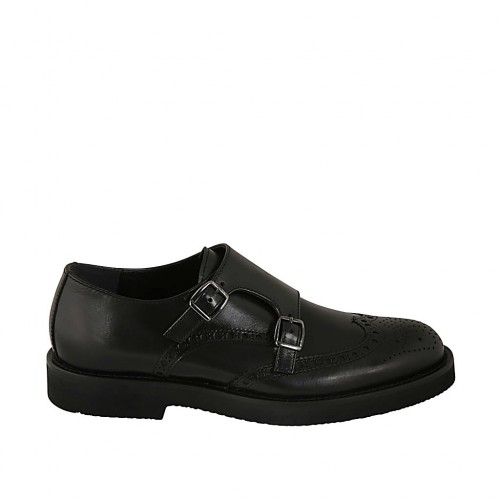 Men's shoe with buckles and Brogue decorations in black leather - Available sizes:  36, 38, 46, 47, 48, 50