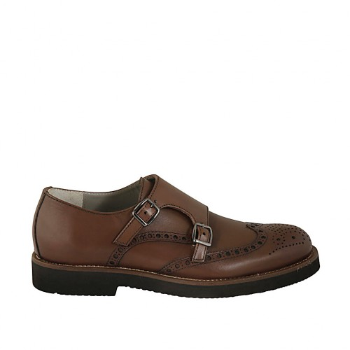 Men's shoe with buckles and Brogue decorations in brown leather - Available sizes:  36, 37, 38, 46, 47, 48, 49, 50