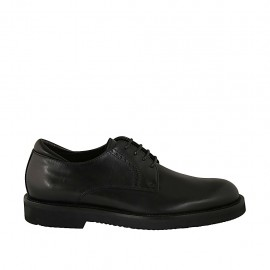 Men's laced derby shoe in smooth black leather