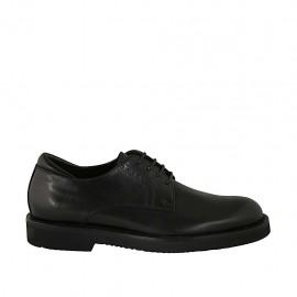 Zapato derby con cordones para hombres en piel negra soave  - Tallas disponibles:  36, 37, 38, 46, 47, 48, 49, 50