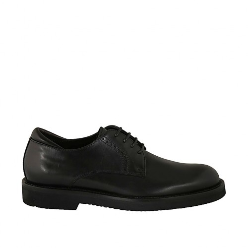 Men's laced derby shoe in smooth black leather  - Available sizes:  36, 37, 38, 46, 47, 48, 49, 50