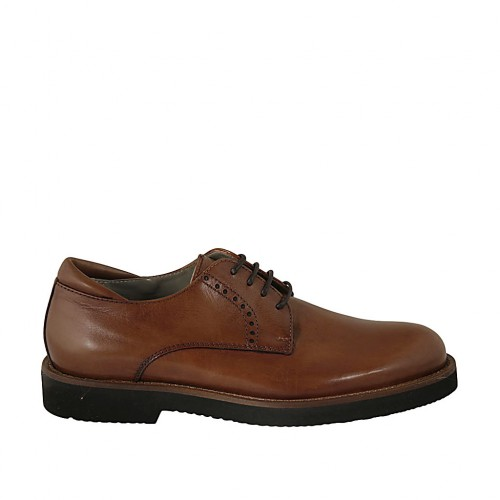 Men's laced derby shoe in smooth tan brown leather  - Available sizes:  36, 37, 38, 46, 47, 48, 50