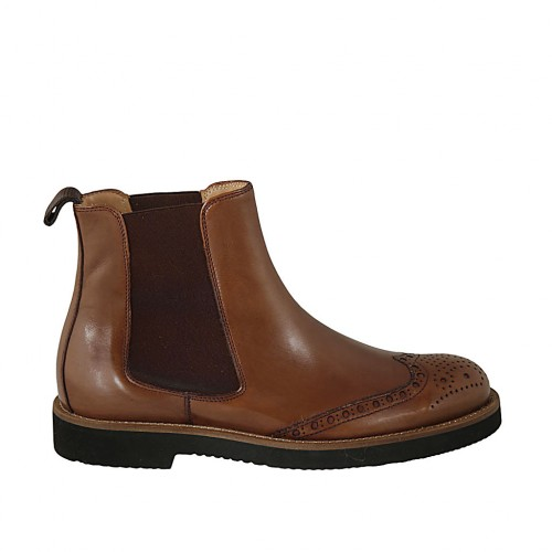 Men's ankle boot with elastic bands and Brogue decorations in tan brown leather - Available sizes:  36, 37, 38, 46, 47, 48, 49