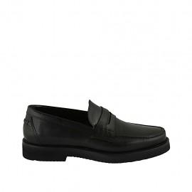 Klassischer Herrenmokassin aus schwarzem Leder - Verfügbare Größen:  36, 37, 38, 46, 47, 48, 49, 50
