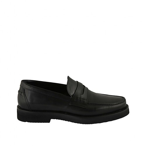 Man's classic loafer in black leather - Available sizes:  36, 37, 38, 46, 47, 48, 49, 50